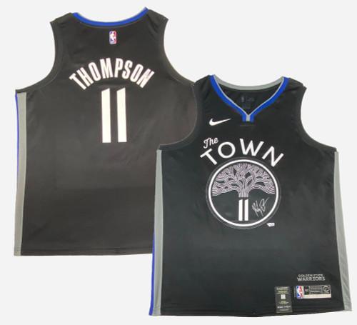 KLAY THOMPSON Autographed Golden State Warriors Black Nike City Jersey FANATICS