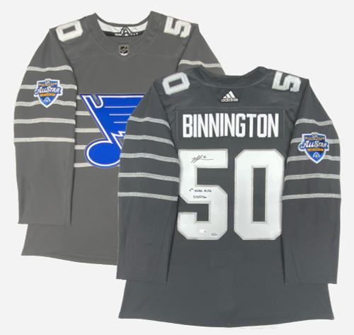"JORDAN BINNINGTON Autographed and Inscribed ""1st NHL ASG"" St. Louis Blues Authentic Adidas Jersey FANATICS LE"