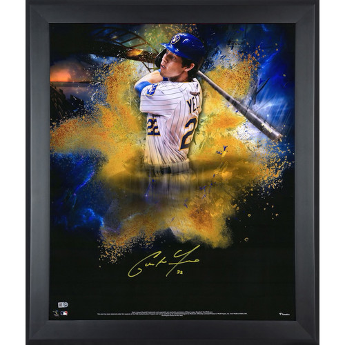 """CHRISTIAN YELICH Autographed Brewers """"In Focus"""" 20 x 24 Photograph FANATICS"""