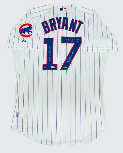KRIS BRYANT Signed 3 Inscription Authentic White Chicago Cubs Jersey FANATICS LE 1/17