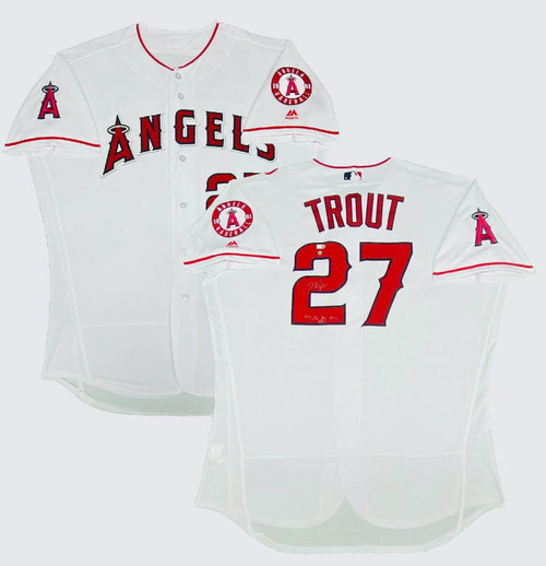 "MIKE TROUT Autographed ""14, 16 AL MVP"" Los Angeles Angels Authentic Jersey STEINER LE 1/27"