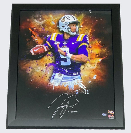 "JOE BURROW Autographed ""19 Heisman"" LSU Tigers Framed 20"" x 24"" Photo FANATICS"