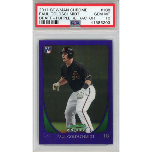 PAUL GOLDSCHMIDT 2011 Bowman Chrome Ref. RC Card PSA/DNA 10