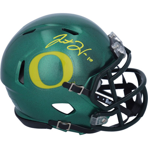 JUSTIN HERBERT Autographed Oregon Ducks Mini Speed Helmet FANATICS