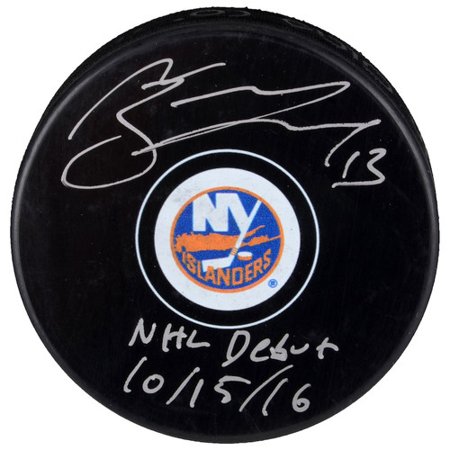 "MATHEW BARZAL Autographed ""NHL Debut 10/15/16"" New York Islanders Hockey Puck FANATICS"
