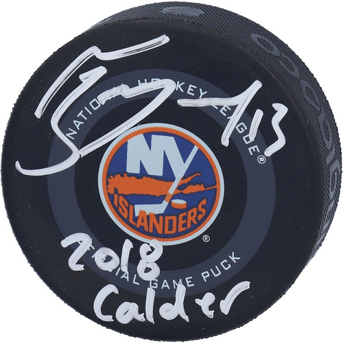 "MATHEW BARZAL Autographed ""2018 Calder"" Official New York Islanders Hockey Puck FANATICS"