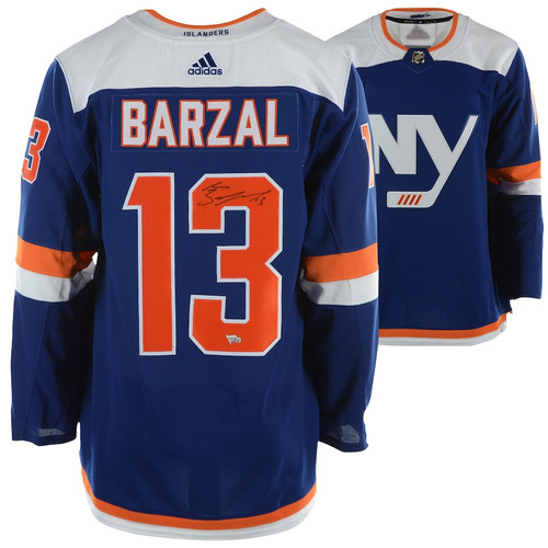 MATHEW BARZAL Autographed New York Islanders Adidas Authentic Alt. Blue Jersey FANATICS