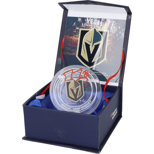 MARC ANDRE-FLEURY Autographed Vegas Golden Knights Game Used Ice Crystal Puck Display FANATICS