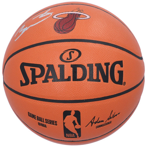 DWYANE WADE Autographed Miami Heat Logo Spalding Basketball FANATICS