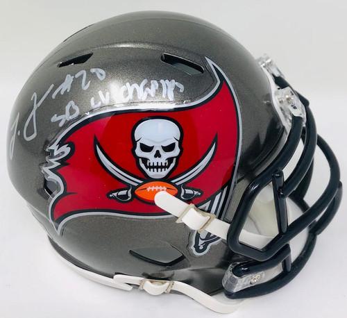 "LEONARD FOURNETTE Autographed ""SB LV Champs"" Tampa Bay Buccaneers Mini Helmet FANATICS"