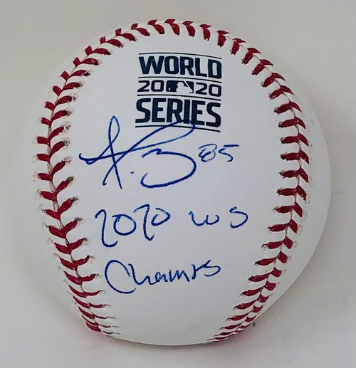 "DUSTIN MAY Autographed ""2020 WS Champs"" Los Angeles Dodgers '20 WS Logo Baseball FANATICS"