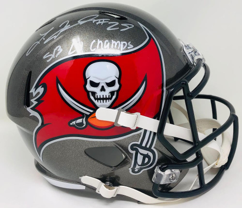 "LEONARD FOURNETTE Autographed / Inscribed ""SB LV Champs"" Tampa Bay Buccaneers Champs Logo Speed Helmet FANATICS"