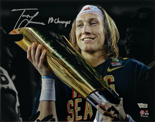 "TREVOR LAWRENCE Autographed/Inscribed ""18 Champs"" Clemson Tigers 11"" x 14"" Spotlight Photograph FANATICS"