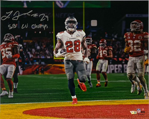 "LEONARD FOURNETTE Autographed/Inscribed ""SB LV Champs"" Tampa Bay Buccaneers 16"" x 20"" Super Bowl LV Photograph FANATICS"