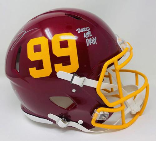 "CHASE YOUNG Autographed ""2020 NFL DPOY"" Washington Authentic Helmet FANATICS"