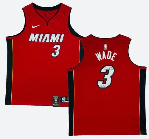 "DWYANE WADE Autographed ""06 Finals MVP"" Miami Heat Red Nike Jersey FANATICS"