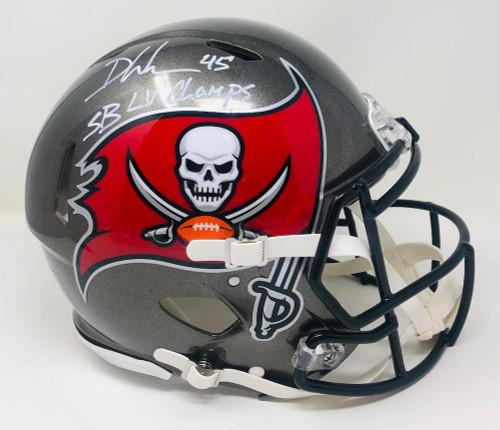 "DEVIN WHITE Autographed ""SB LV Champs"" Champs Logo Speed Helmet FANATICS"