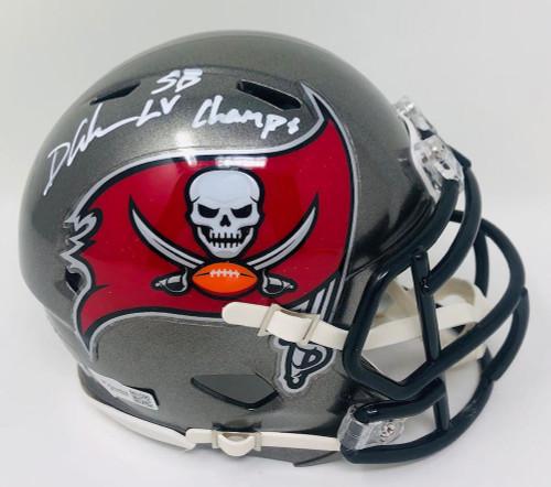 """DEVIN WHITE Autographed """"SB LV Champs"""" Buccaneers Mini Helmet FANATICS"""