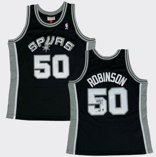 "DAVID ROBINSON Autographed ""HOF 09"" Spurs Black M&N Jersey FANATICS"