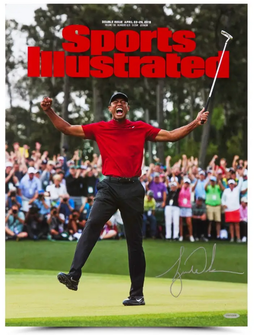 """TIGER WOODS Autographed 2019 Masters 15"""" x 20"""" Sports Illustrated Photo UDA"""