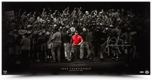 """TIGER WOODS Autographed """"Moving Forward"""" 36"""" x 18"""" Panoramic Photo UDA"""