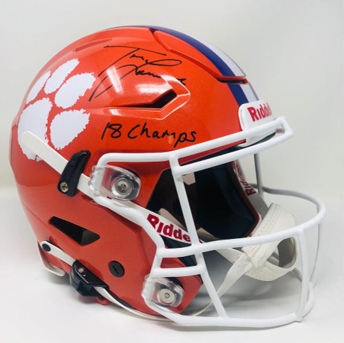 "TREVOR LAWRENCE Autographed ""18 Champs"" Tigers Speed Flex Helmet FANATICS"