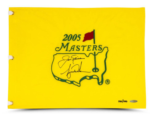 TIGER WOODS & JACK NICKLAUS Dual Signed 2005 Masters Pin Flag UDA