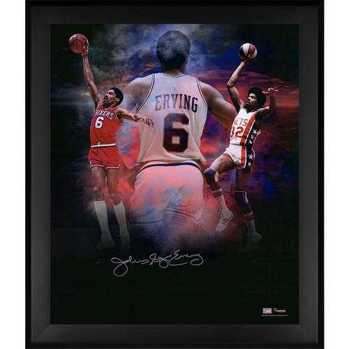 """JULIUS ERVING Autographed 76ers """"In Focus"""" 20 x 24 Photograph FANATICS"""
