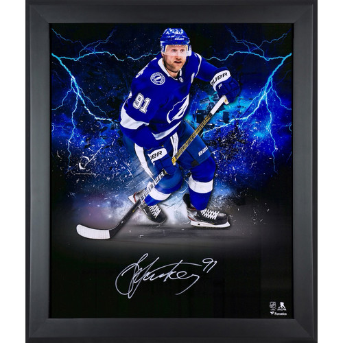 """STEVEN STAMKOS Autographed Tampa Bay Lightning """"In Focus"""" 20 x 24 Photograph FANATICS"""