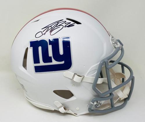 SAQUON BARKLEY Autographed Giants Authentic White Matte Speed Helmet FANATICS
