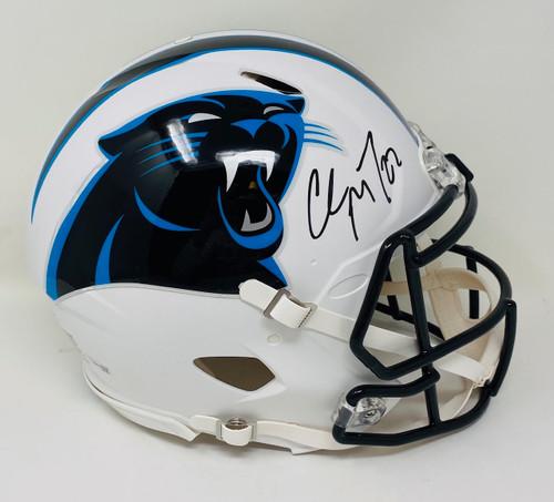 CHRISTIAN McCAFFREY Autographed Panthers White Matte Authentic Helmet FANATICS