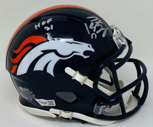 "PEYTON MANNING Autographed ""HOF 21"" Denver Broncos Mini Helmet FANATICS"
