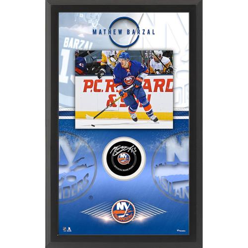 MATHEW BARZAL Autographed New York Islanders Official Puck Shadowbox FANATICS