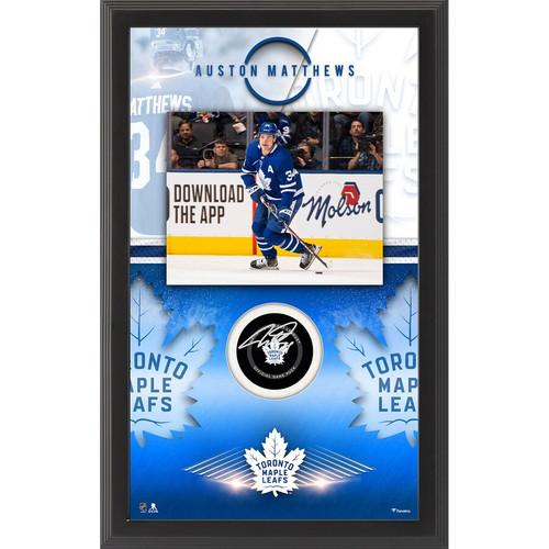 AUSTON MATTHEWS Autographed Toronto Maple Leafs Official Puck Shadowbox FANATICS