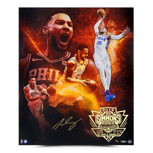 "BEN SIMMONS Autographed Philadelphia 76ers ""Act 1"" 24"" x 20"" Photograph UDA LE 125"