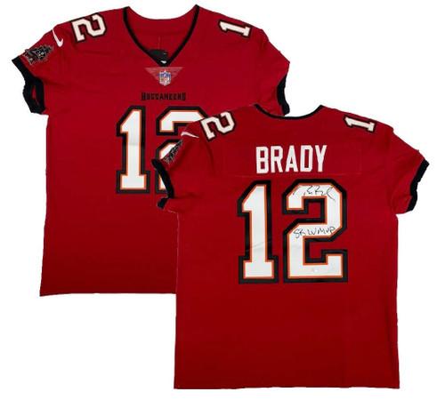 "TOM BRADY Autographed ""SB LV MVP"" Red Buccaneers Nike Elite Jersey FANATICS"