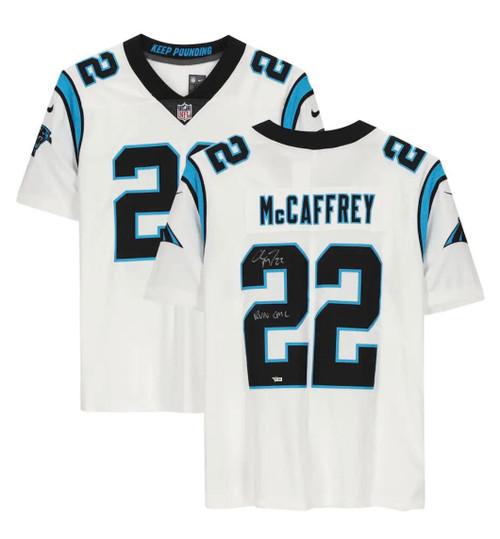 """CHRISTIAN McCAFFREY Autographed """"Run CMC"""" Panthers Limited Jersey FANATICS"""