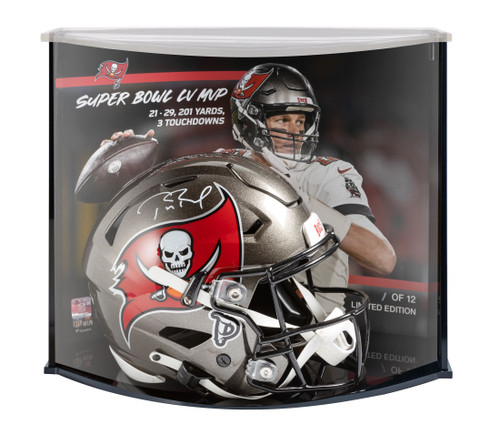 TOM BRADY Signed Buccaneers Authentic Speed Flex Helmet Display FANATICS LE 12