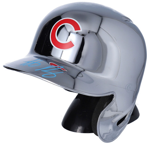 ANTHONY RIZZO Autographed Chicago Cubs Mini Chrome Batting Helmet FANATICS