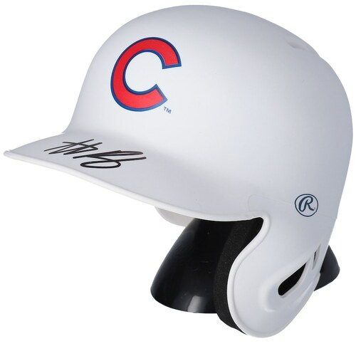ANTHONY RIZZO Autographed Chicago Cubs Mini White Matte Batting Helmet FANATICS