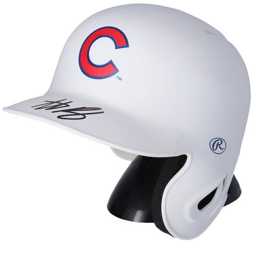 ANTHONY RIZZO Autographed Chicago Cubs Mini White Matte Batting Helmet FANATICS
