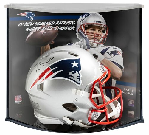 TOM BRADY Autographed Patriots '6x Champ' Speed Helmet Display FANATICS LE 1/12