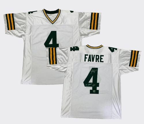 """BRETT FAVRE Autographed """"#4 Retired 7/18/15"""" Green Bay Packers Jersey RADTKE"""