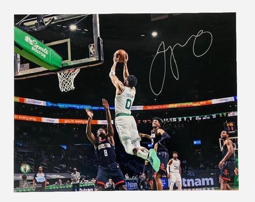 "JAYSON TATUM Autographed Celtics ""Dunk vs. Houston"" 16 x 20 Photograph FANATICS"
