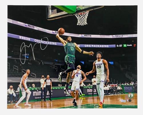 "JAYSON TATUM Autographed Celtics ""Dunk vs. Kings"" 16"" x 20"" Photograph FANATICS"