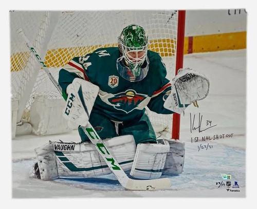 """KAAPO KAHKONEN Autographed """"1st NHL Shut Out"""" 16"""" x 20"""" Photograph FANATICS LE"""