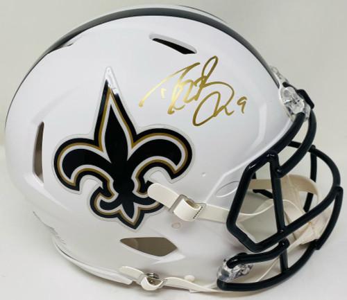 DREW BREES Autographed White Matte New Orleans Saints Authentic Helmet BECKETT