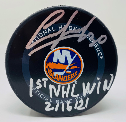 "ILYA SOROKIN Autographed ""1st NHL Win"" New York Islanders Official Puck FANATICS"