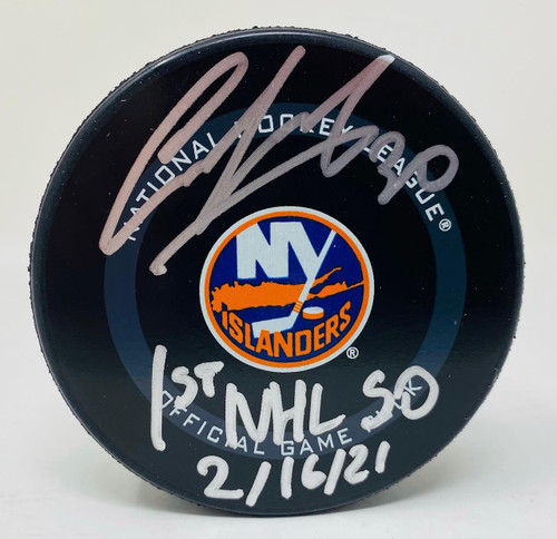 "ILYA SOROKIN Autographed ""1st NHL SO"" New York Islanders Official Puck FANATICS"