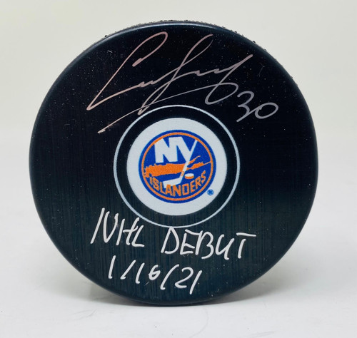 "ILYA SOROKIN Autographed ""NHL Debut"" New York Islanders Puck FANATICS"
